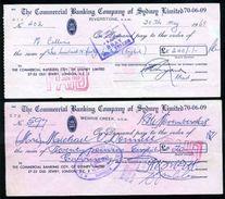 AUSTRALIA / IRELAND 1968/69 CHEQUES - Cheques & Traveler's Cheques