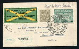BRAZIL ZEPPELIN CONDOR RARE OVERPRINT STAMP LAKEHURST USA 1930 - Brazil