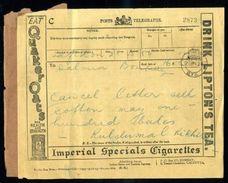 INDIA TELEGRAPH FORM KGV TEA, TOBACCO, OIL, GOLF - India (...-1947)