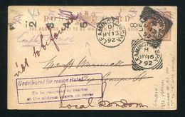 GB STATIONERY QUEEN VICTORIA POSTCARD LEAMINGTON SPA RETURNED TO SENDER - 1840-1901 (Victoria)