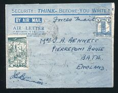MOROCCO BRITISH FORCES AIRLETTER TROOP SHIP GOOD CONTENT CASABLANCA 1946 - Morocco (1956-...)
