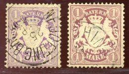 GERMANY/BAVARIA 1875-80 1 MARK X 2 - Germany