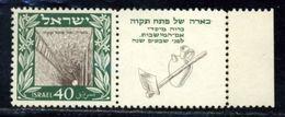 ISRAEL 1949 40p PETAH TIKVAH WITH FULL TAB UNMOUNTED - Unclassified