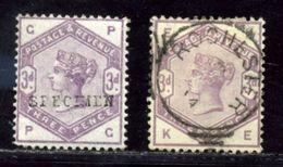 GB QV 1883-84 3d OVERPRINTED 'SPECIMEN' TYPE 9 - 1840-1901 (Victoria)