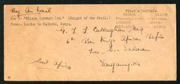 KENYA TANGANYIKA AIRMAIL 1929 WILSON AIRWAYS KINGS AFRICAN RIFLES - Kenya, Uganda & Tanganyika