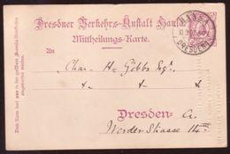 GERMANY 1897 DRESDEN POSTCARD - Germany