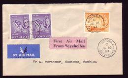 SEYCHELLES 1953 1st FLIGHT TO KENYA - Seychelles (...-1976)