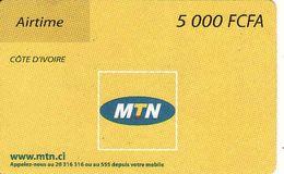 Côte D'Ivoire - Ivory Coast 5000 FCFA Airtime MTN Phonecard, Used - Ivory Coast
