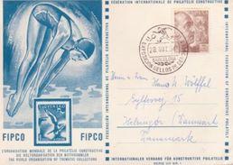 SPAIN 1954 DIVING/SWIMMING/FOOTBALL POSTCARD - Spain