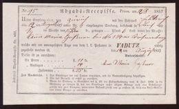 LIECHTENSTEIN TRAVELLING POST OFFICE RECEIPT 1853 - Liechtenstein