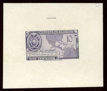 EQUADOR 1943 MAP DIE PROOF AMERICAN BANK NOTE COMPANY - Ecuador