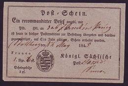 GERMANY SAXONY POSTAL RECEIPTS 1843 - Germany