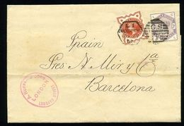 GREAT BRITAIN QUEEN VICTORIA LATE FEE COVER TO SPAIN 1887 - Postmark Collection
