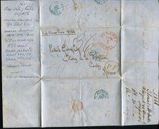 USA NEW YORK DUBLIN WINE MERCHANT SHERRY JEREZ VIA CADIZ SPAIN SHIP LETTER 1856 - Postal History