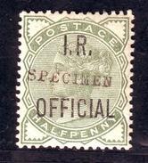 GB QV ½d INLAND REVENUE 'OFFICIAL' SPECIMEN OVERPRINT - 1840-1901 (Victoria)