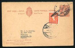 GB USED ABROAD STATIONERY JORDAN KG6 QE2 COMBO - 1952-.... (Elizabeth II)