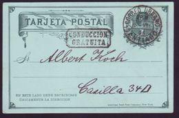 CHILE 1896 STATIONERY SANTIAGO CONDUCCION GRATVITA - Chile