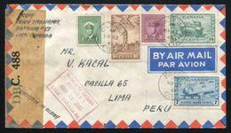 CANADA CZECHOSLOVAKIA WORLD WAR II CENSOR COVER FROM BATAWA TO PERU - Commemorative Covers