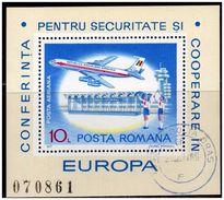 ROMANIA - 1977 European Safety Conference S/s Mi. B143 - Yv. B129  Usato Perfetto - Blocks & Kleinbögen