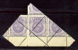 SWEDEN 1919 SPECTACULAR MARGINAL BLOCK DOUBLE PERFORATIONS - Sweden