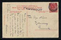 SINGAPORE KING EDWARD 7th PAQUEBOT COURT HOUSE DENMARK 1908 - Singapore (...-1959)