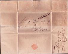 CENTRAL AMERICA 1836 VILLACLARA ENTIRE LETTER - Stamps