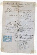 FRANCE REVENUE STAMP AND DOCUMENT 1872 PARIS - Switzerland