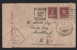 AUSTRALIA NEW ZEALAND GEORGE SIXTH CENSOR MARITIME 1943 LOOSE LETTER WELLINGTON - Postmark Collection