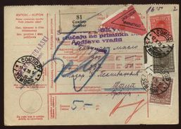 YUGOSLAVIA 1928 PARCEL CARD WITH TRIANGLE - Europe (Other)