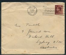 AUSTRALIA GREAT BRITAIN EDWARD 8th 1937 PERTH PAQUEBOT MARITIME - Postmark Collection