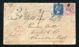 GB CANADA POSTAGE DUE ROWAN MILLS MANUSCRIPT POSTMARK 1858 - Commemorative Covers