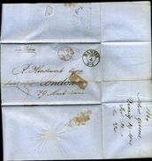 DANZIG 1864 ENTIRE LETTERS TO LONDON VIA OSTEND - Germany