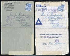 BRITISH SOMALILAND WORLD WAR TWO ARMY CENSOR STATIONERY AIRLETTERS - Somaliland (Protectorate ...-1959)