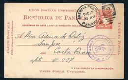 PANAMA POSTAL STATIONERY DUPLEX COSTA RICA BIRD 1929 NATIONAL ARMS - Panama