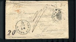 UNITED STATES TRANSATLANTIC LECLAIRE NEW YORK BRITISH PACKET RARE CANCEL 1856 - South Africa (...-1961)