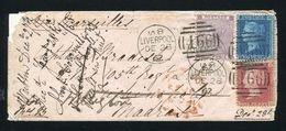 GREAT BRITAIN LIVERPOOL INDIA 1862 MADRAS WELLINGTON VICTORIA - Postmark Collection