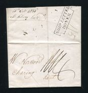 GREAT BRITAIN FRANCE SHIP LETTER DOVER BOULOGNE SHOES CHARING KENT 1835 - Great Britain