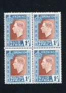 SOUTH AFRICA GEORGE SIXTH 1937 CORONATION BLOCK VARIETY - South Africa (...-1961)