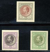 SURINAM 1st ISSUE 1873/89 KING WILLIAM PLATE PROOFS - Surinam