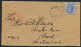 GOLD COAST VICTORIA DUPLEX LIVERPOOL BRITISH PACKET BASEL SWITZERLAND 1896 - Gold Coast (...-1957)