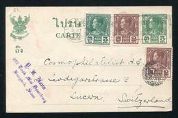 SIAM THAILAND STATIONERY MAILBOATS DIAMOND DOTS POSTMARK 1935 - Thailand