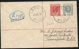 FIJI LEKUTU BRASS REGISTERED COVER 1932 GEORGE FIFTH - Fiji (...-1970)