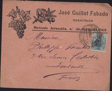 Enveloppe Illustrée Grappe Raisin Branche Olivier Olive José Guillot Fabado Asentador Barcelona Espagne YT 248 - Otros