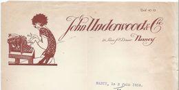 Machines à écrire/ JohnUnderwood & Cie/ Rue Saint Dizier/  NANCY / 1926  FACT216 - France