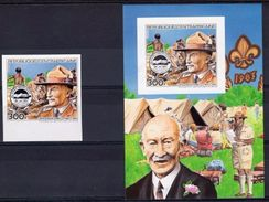 Centrafrica 1984, Scout, Baden Powell, 1val+BF IMPERFORATED - Centrafricaine (République)