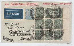 India/Great Britain Kirkee Via Karachi-Croydon To Godmanstone AIRMAIL COVER BLOCK 9 1932 - Indien (...-1947)