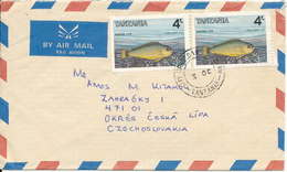Tanzania Cover Sent Air Mail To Czechoslovakia With FISH On The Stamps - Tanzanie (1964-...)