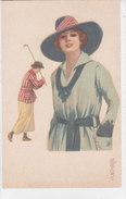 CARD GOLF DONNINA CON MAZZA DA GOLF CHARME FIRMATA COLOMBO- FP- V 1922-2-  0882-27577 - Golf