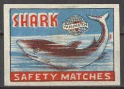 INDE étiquette Allumettes Matchbox Label MADE IN INDIA Shark Requin - Boites D'allumettes - Etiquettes