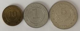 Nicaragua  10 Centavos 2002 - 1 Cordoba 2007 - 5 Cordobas 2000 - Nicaragua